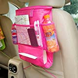 #6: Dtes Insulated Car Back Seat Organizer with Car Tissue Holder and organizer for Bottle Books Magazine pink