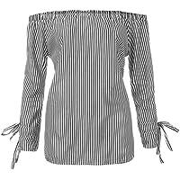 Damen T Shirt,Geili Frauen Mode Große Größe Langarm Gestreifte Bluse Damen Herbst Sexy Aus der Schulter Slash... preisvergleich bei billige-tabletten.eu