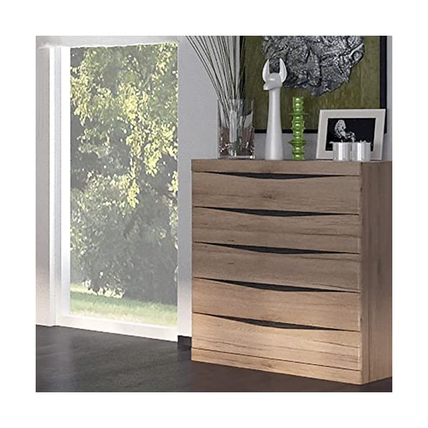 Furniture To Go 4 + 4 Wide Chest of Drawers, Oak, 125.7x39.9x83.8 cm Furniture To Go Laminated board (resistant to damage and scratches, moisture and high temperature) Oak finish with the contrasting dark trim Characteristic milled handles 2