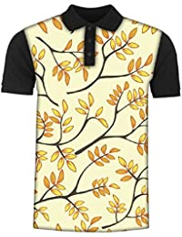 Snoogg Multicolor Leaves Lite Pattern Men's Polo T-Shirt with Collar Stylish Half Sleeve (Cotton,Polyester)