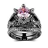 Knsam Donna Nuziale Anello con Rotonda Brillante Zirconia Cubica Placcato Oro nero (rosa) Dimensioni 12