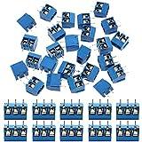 IZOKEE 60 Pezzi 5mm 2 Pin / 3 Pin Morsettiera a Vite PCB Blu per Prototipo PCB Scheda Circuito Stampato per Arduino (50pz 2 Pin, 10pz 3 Pin)