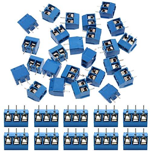 IZOKEE 60 Stücke 5mm 2 Pin / 3 Pin PCB Mount Screw Terminal Block Schraubklemme Steckverbinder Blau für Arduino (2 Pin-50, 3 Pin-10)