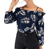 NEEKY Schulterfrei Schulter Sling Tops Fashion - Damen Slash Neck Laterne Ärmel Blatt Print Strap Slip Top Casual Bluse