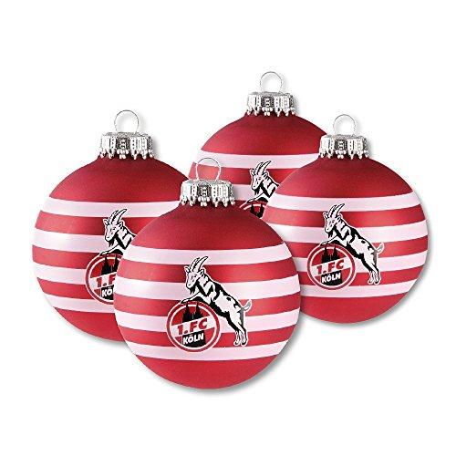 "4er Set Weihnachtskugeln Christbaumkugeln ""Ringel"" 1. FC Köln"