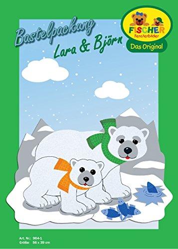 Fischer Fensterbilder Eisbären Lara UND BJÖRN/Bastelpackung/Größe ca. 56x39 cm/zum Selberbasteln/Basteln mit Papier und Pappe zur Winterzeit