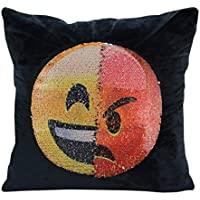 Generic Emoji cara intercambiables de terciopelo funda de almohada reversible cojín cubierta almohada lentejuelas Decorativa Funda de almohada para sofá decoración del hogar 16x 16