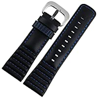 28mm Black Real Leather Watch Strap Watch band Blue Stitching