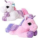 TE-Trend Plüschpferd Einhorn Unicorn liegend 60cm pink oder weiß mit lila Applikationen und Flügel