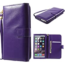 DFV mobile - Crazy Horse PU Leather Wallet Case with Frame Touchable Screen and Card Slots for => WOXTER Zielo ZX-900 4G > Purple