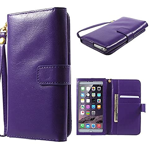 DFV mobile - Crazy Horse PU Leather Wallet Case with Frame Touchable Screen and Card Slots for => Timmy P7000 Plus >