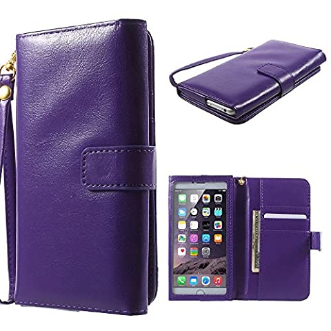 DFV mobile - Crazy Horse PU Leather Wallet Case with Frame Touchable Screen and Card Slots for => PRESTIGIO MULTIPHONE 5300 DUO > Purple