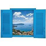 Winhappyhome azul del Mediterráneo falsos ventana Scene engomadas de la pared del arte de la sala de estar dormitorio Cafetería Fondo de la decoración desprendible Adhesivos C