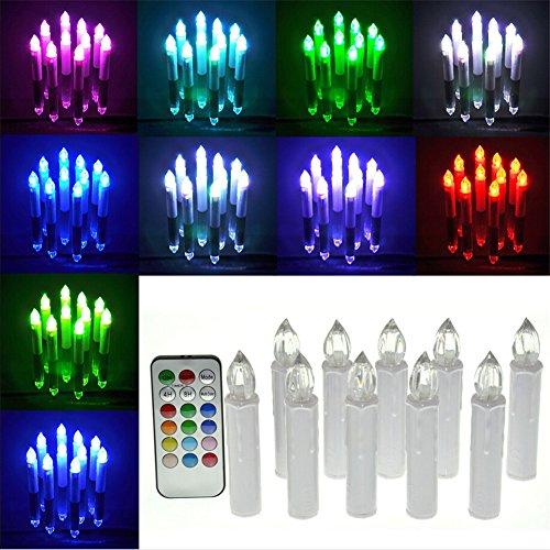 Nuevo chendongdong 10 piezas con efecto parpadeante de colores portavelas para velas de té LED con forma de vela sin llama platos de phyllida coroneo velas con diseño de árbol en RGB mando a distancia