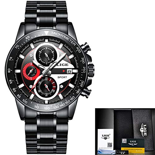 Herren Business Casual Chronograph Quarz Datum Kalender Zifferblatt wasserdichte Armbanduhr Schwarz Edelstahlarmband Herrenuhren Kollektion,A (Slim-sub Gehäuse)