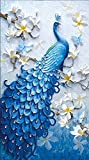 Milopon 5d DIY Azul Pavo Real Diamond Painting Bordado Brillantes Cruz con Pegar Diamante imágenes Full imágenes Juego Cruz Decoración de Pared, Blue Peacock-1, 150 * 95cm