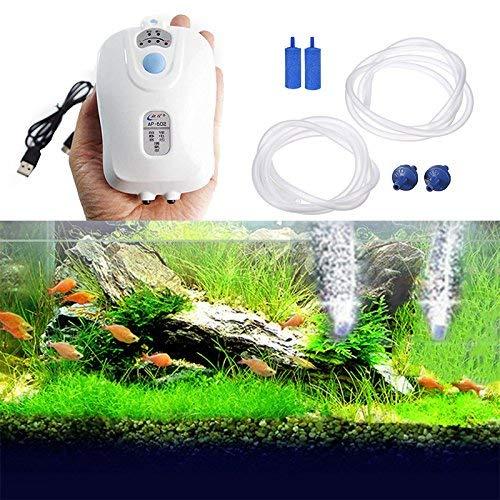 Wuudi Fish Tank Luftpumpe, Fisch Tank Aquarium Angeln Tank Sauerstoff Luftblasen Pumpe Netzteil AC DC Funktion Ultra Silent Effiziente Aufladbare USB Air Pumpe mit 2Air Stein und Tragbar Clip -