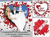 Hochzeitsherz, 4x Rosenregen 40cm, 2x Nagelschere. Hochzeitsherz zum Ausschneiden für das Brautpaar inkl. 2 Nagelscheren und 4 Party Popper, Konfetti Shooter. Bedrucktes Bettlaken das Hochzeitsspiel.