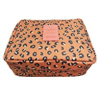 JJOnlineStore - Multi-Purpose Unisex Portable Bag Waterproof Wash Bag Multiple Compartments Cosmetic Bag Summer Holiday Travel Pattern Toiletries Bags (Peach Leopard (No Hooks))