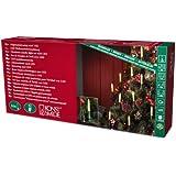Konstsmide 1127-010 LED Baumkette mit Schaftkerzen /  für Innen (IP20) /  230V Innen / teilbarer Stecker / 16 warm weiße Dioden / grünes Kabel