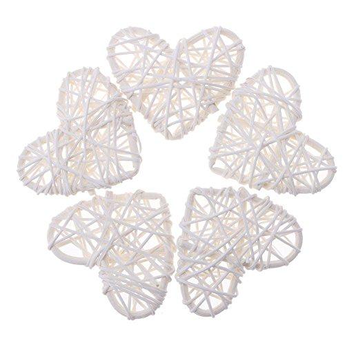 Demiawaking - 5 décorations en rotin naturel - En forme de cœurs - À suspendre - Pour le bricolage, les travaux manuels - Pour décorer le jardin, la maison, le salon, la chambre à coucher - Pour un mariage, une fête - 10 cm, blanc