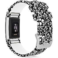MoKo Fitbit Charge 2 Armband, [Muster Serie]Silikon Sportarmband Uhrenarmband Uhr Erstatzband für Fitbit Charge 2 Smartwatch Zur Herzfrequenz und Fitnessaufzeichnung, Armbandlänge 145mm-210mm, Schädel