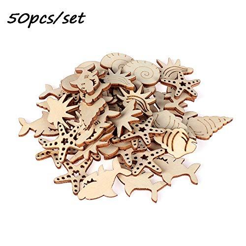 Xuntung 50PCS geschnitzt dekoration anhänger diy handwerk schmuck verzierung meerestiere scrapbooking natürliches holz