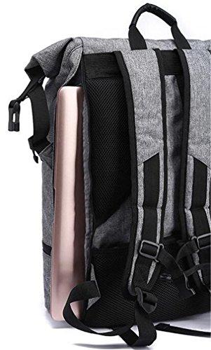 YANFEI Leichte Leinwand Studenten Tasche Rucksack Freizeit Reisen Sport Fitness Multifunktions Schulter Rucksäcke Große Kapazität , gray gray