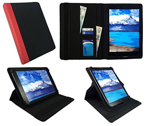 Sweet Tech Teclast X80 Power / X80 Pro 8 Inch Tablet Black with Red Trim Universal 360 Degree Rotating PU Leather Wallet Case Cover Folio (7-8 inch)