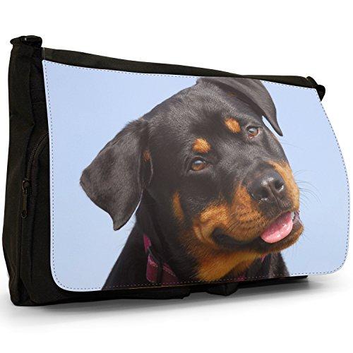 Rottweiler, colore: nero, Borsa Messenger-Borsa a tracolla in tela, borsa per Laptop, scuola Nero (Cute Rottweiler Dog)