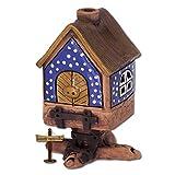 Lichthaus kleines Hexenhäuschen blau original Fit4Style Leucht-Keramik Handarbeit Deko-Häuschen Leuchthaus Räucherhaus DKH09B