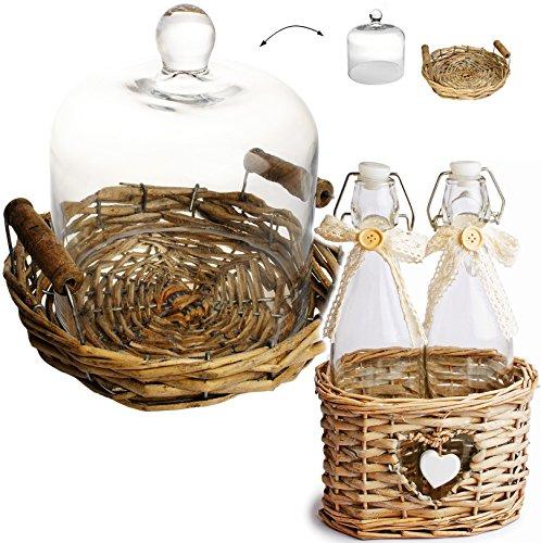 ke + 2 Glasflaschen + Bastkorb - mit Flecht / Bast - Boden - Bügelflasche - Flaschen - Getränkeflaschen - Deko / Muffin - Süßigkeiten - Holzboden - Präsentationsglocke / Glaskuppel - Glocke - Holzteller - Schauglas - Glasplatte / Glashaube / Patisserie - Kuchen - Ständer - Haube - Küche / Deko - groß / Kuchenglocke - Käseglocke - Glasdose Aufbewahrung - kleiner Tortenständer - Vitrine / Tortenplatte - Kuchenglocke / Weihnachten - Nostalgie (Alle Süßigkeiten-namen)