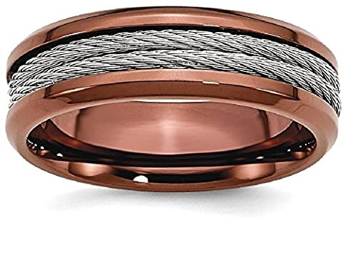 IceCarats Stainless Steel Ridged Edge Brown Plated Cable 7mm Wedding Ring Band