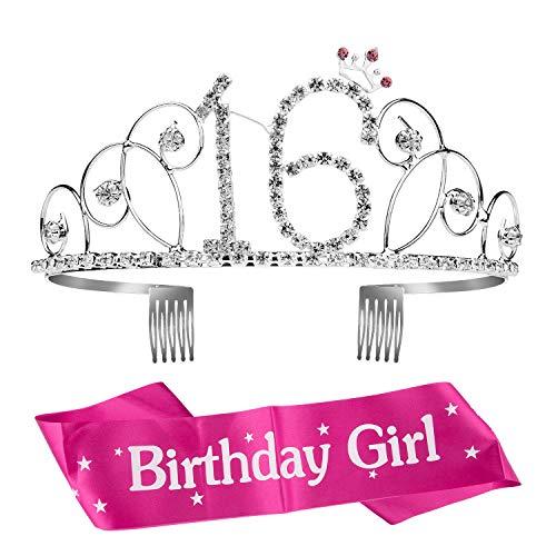 ZOEON Geburtstags-Krone 16. Geburtstags Kristall Tiara Krone mit Geburtstags-Schärpe (16)