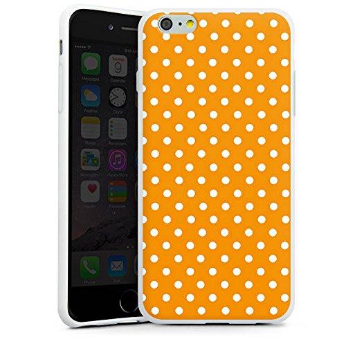 Apple iPhone X Silikon Hülle Case Schutzhülle Muster Polka Punkte Orange Silikon Case weiß