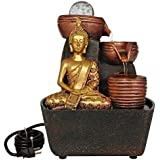 TIED RIBBONS Buddha StatueTabletop Decorative Water Fountain Waterfall Show Piece for Outdoor Living Room Garden Indoor Home Decoration House Warming Gift