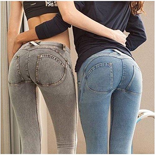 Angcoco Women's Peach Hips Sexy Butt Lift Stretch Denim Pants Light Blue