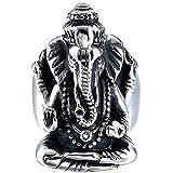 KLMFG Joyería de Acero Inoxidable del Mens de época gótica Tribal Punky del Motorista Grande hindú Elefante Anillo Dios, Negro Plata