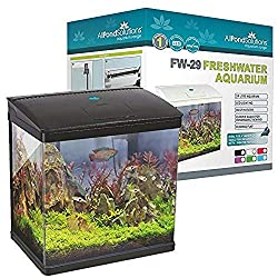 All Pond Solutions Nano Fish Tank Aquarium LED Lights with built-in Filter, Pump and Led Lightning, Small, 29 Litre, Black