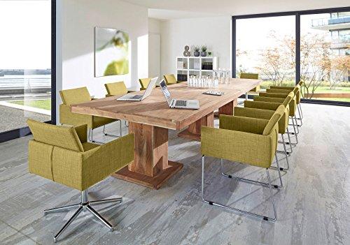 SAM® Tischgruppe 11tlg mit Tisch Saber 6696 aus Akazienholz stonefarben 400x120 cm Stühlen Oslo und Drehstuhl Lori in senffarben