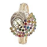 EUZeo Damen Runder Voller Diamant Blumenform Armband Uhr Analoge Quarz Bewegungs Armbanduhren