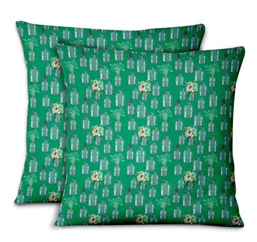 S4sassy verde popeline di cotone bottiglia del vaso & anemone copridivano e cuscini per la casacuscini decorativi cuscini per il divano letto 2pezzi-26 x 26 pollici