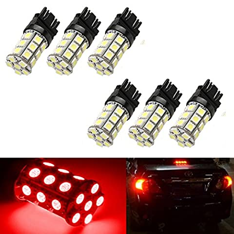 Inlink 6 pcs 27SMD 5050 3157 P27/5W 3157A 3157NA LED Lamp Bulbs Parking Light Led Exterior Lights For Car Turn Signal / Brake / Tail Lights LED Bulbs Red