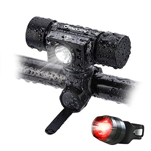 LED Fahrradbeleuchtung, USB Wiederaufladbar, LED Fahrradlicht Set, 5 Licht-Modi, Frontlicht, 500 Lumen