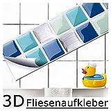 7er Set 25,3 x 3,7 cm blau türkis silber Fliesenaufkleber I Mosaik 3D-Effekt Aufkleber Küche Bad Fliesendekor selbstklebend Grandora W5189