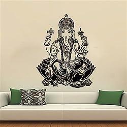Arte de Pared de Buda mano Hamsa dodoskinz elefante pegatinas Oum indio Om vinilo adhesivo para decoración del hogar diseño Interior dormitorio Yoga Studio (mn788), vinilo, 118cmTall x 96cmWide