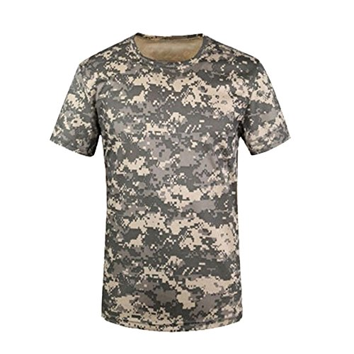 Outdoor Jagd Camouflage T-Shirt Herren atmungsaktiv Army Tactical Combat T Shirt Military Dry Sport Camo Tees, Herren, ACU Green Camo (Tee T-shirt Army Green)