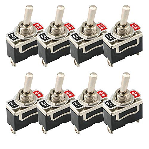 FULARR 8Pcs Profesional Coche Interruptor Palanca, ON-OFF 2 Posiciones 2 Pines SPST...