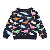 Yanhoo Kinderkleidung, Kindermode Baby Jungen Dinosaurier Print Pullover Tops Herbst Winter Warme Langarm Pulli Sweatshirt Langarmshirt Oberteile 2~7Jahre