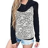 Hoodie Sweatshirt Dasongff Damen Frauen Kapuzenpullover mit Hohem Kragen Feste Sweatshirt Pullover Tops Slim Fit PulloverKleid (XL, Schwarz-C)